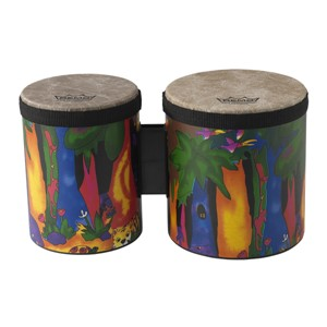 "Remo KIDS PERCUSSION® BONGO DRUM - FABRIC RAIN FOREST, 5""-6"""